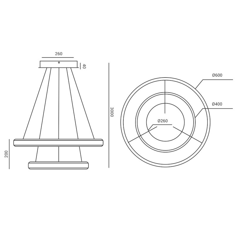 Pendente LED Opus DN34485 Halo Double 106W 3000K IP20 Bivolt Ø600x200mm Branco