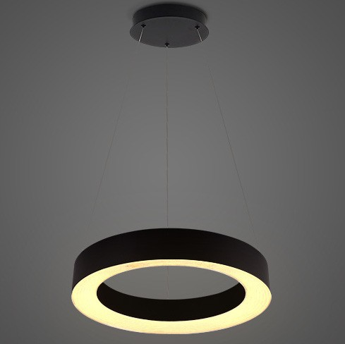 Pendente LED Opus DN35871 Vênus 24W 3000K IP20 Bivolt Ø500x2000mm Preto