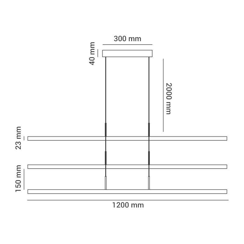 Pendente LED Opus DN38049 Compass 67W 3000K IP20 Bivolt Ø23x1200x2000mm Preto