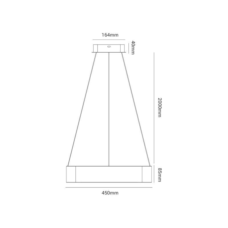 Pendente LED Opus DN38087 Square 28W 3000K IP20 Bivolt 450x2000x85mm