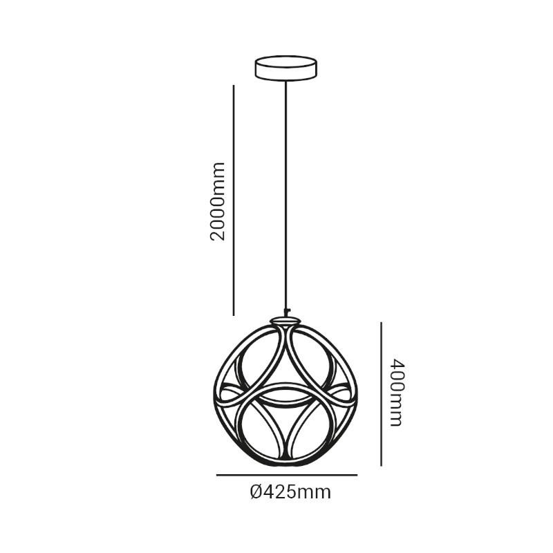 Pendente LED Opus DN38698 Emblem 52W 3000K IP20 Bivolt Ø425x400mm Dourado