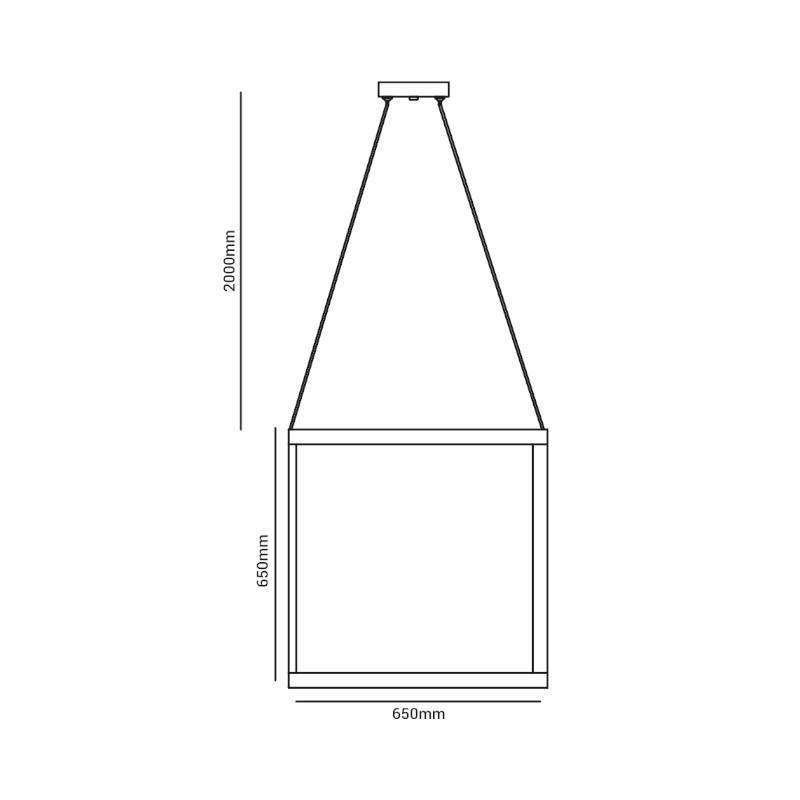 Pendente LED Opus DN38759 Cubo 78W 3000K IP20 Bivolt 650x650mm