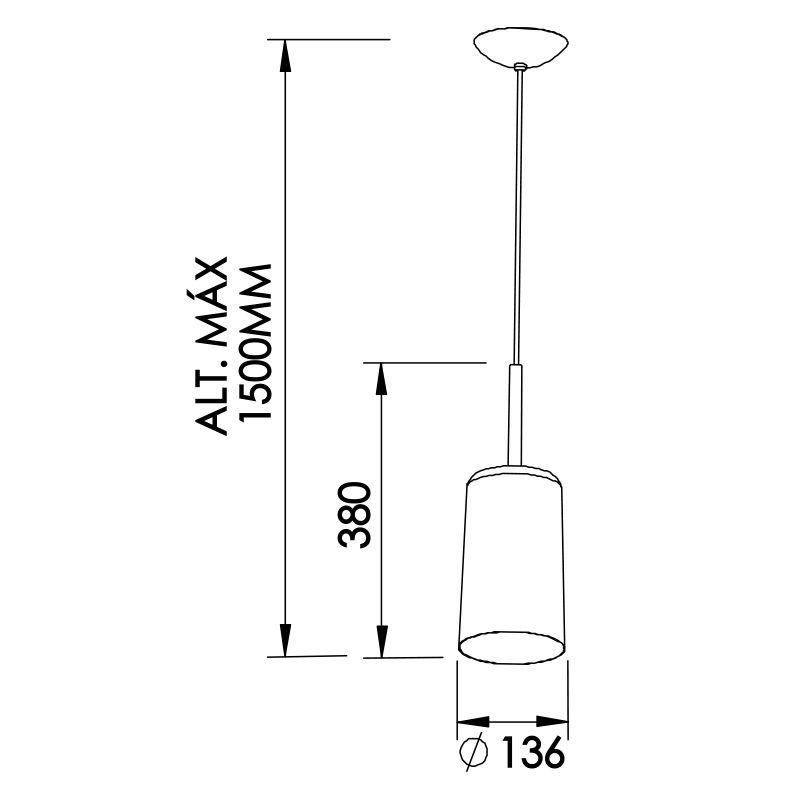Pendente Newline 109 Bilboque 1L E27 Ø136x380mm