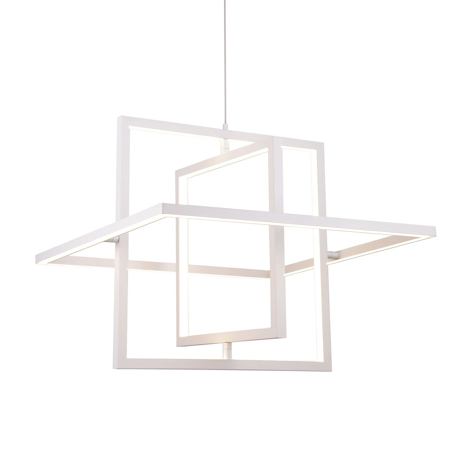 Pendente LED Casual Light Quality PD1243-BR Square 32W 3000K Bivolt  Ø500x500mm Branco