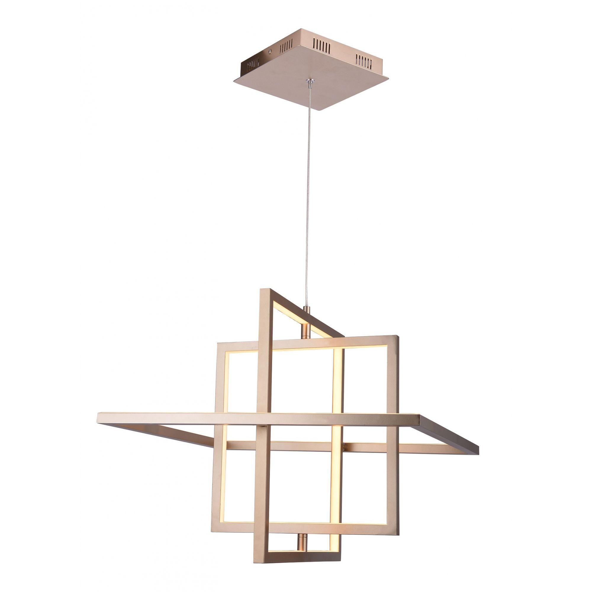 Pendente LED Casual Light Quality PD1243-DO Square 32W 3000K Bivolt  Ø500x500mm Dourado