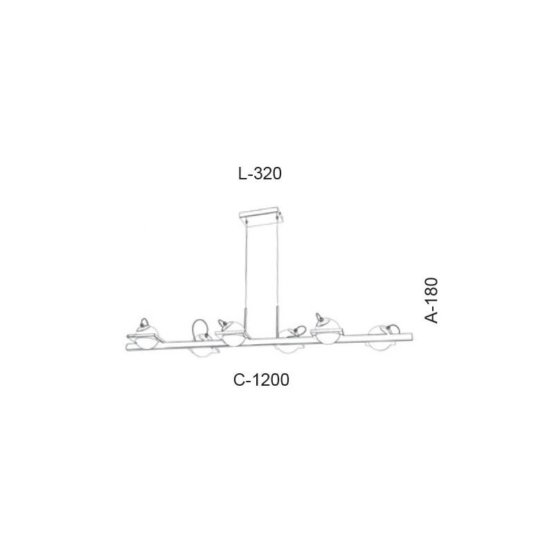 Pendente Old Artisan PD-5407 6L Halopin G9 180x320x1200mm