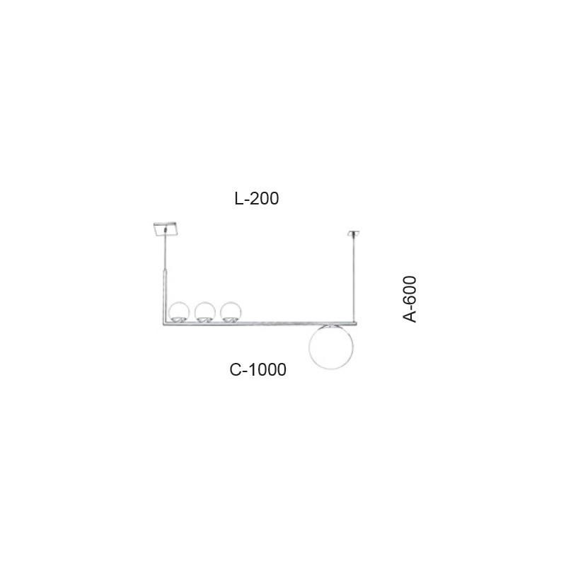 Pendente Old Artisan PD-5410 3L Halopin G9 + 1L E27 600x200x1000mm