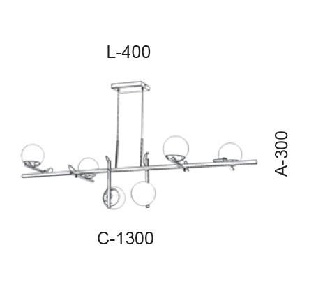 Pendente Old Artisan PD-5414 6L Halopin G9 300x400x1300mm