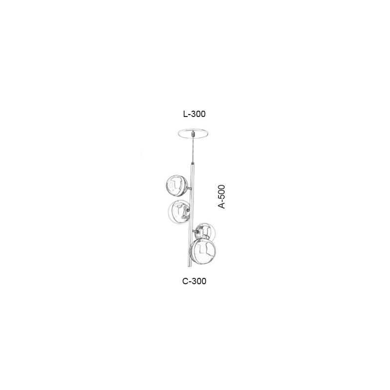 Pendente Old Artisan PD-5418 4L Halopin G9 500x300x300mm