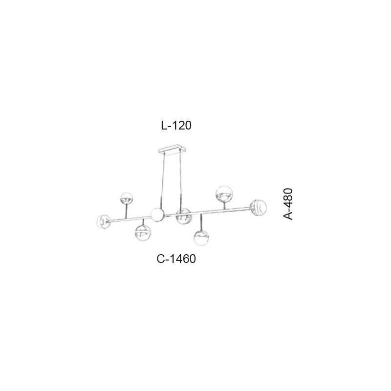 Pendente Old Artisan PD-5419 8L Halopin G9 480x120x1460mm