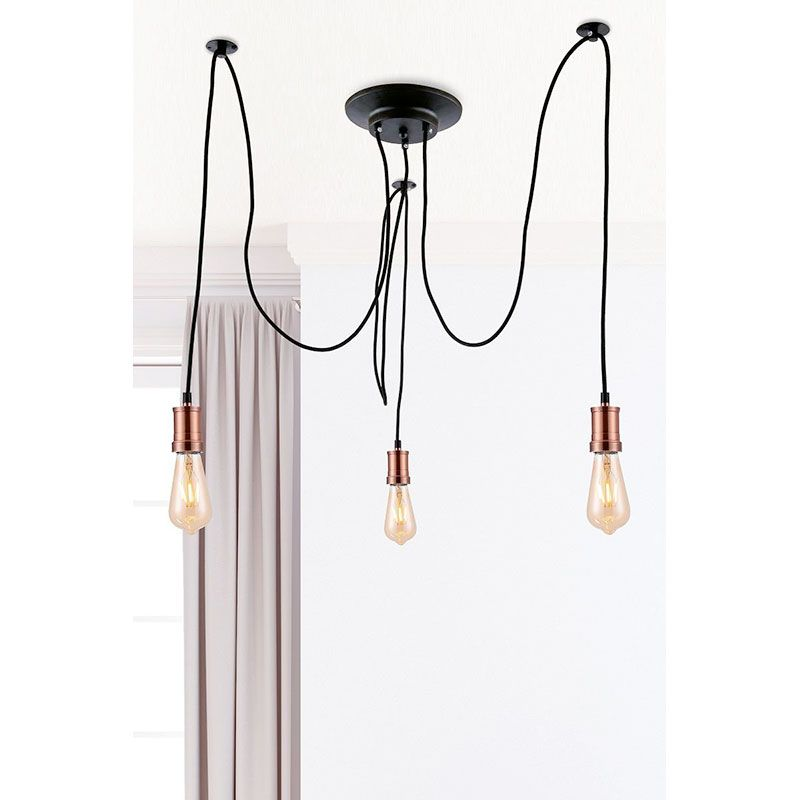 Pendente Casual Light Quality PD718-CO Valve Ø350X700mm Preto/Cobre