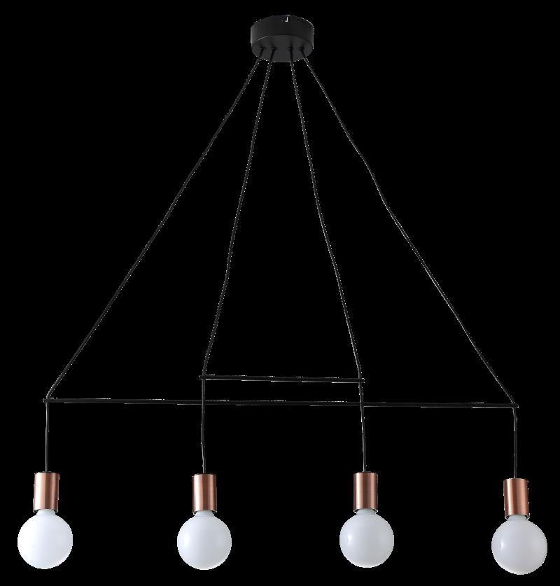 Pendente Casual Light Quality QPD1353 Trace 4L E27 890x1050mm Cobre/Preto