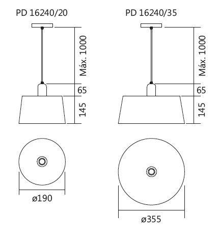 Pendente Usina 16240/20 Cambar 1L E27 Ø190x210mm