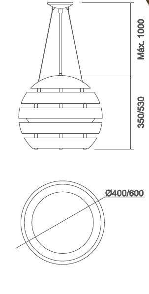 Pendente Usina 16491/3 Neon Redondo 3L E27 Ø400x350x1000mm