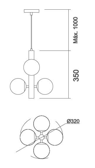 Pendente Usina 16541/4 Pérola C/ Globos Ø120mm Vertical 4 G9 Ø320x500x1000mm