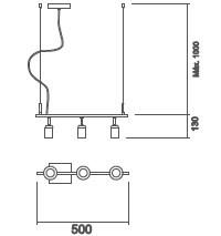 Pendente Usina 16553/3 Branch S/ Globos 3L E27 130x500x110mm