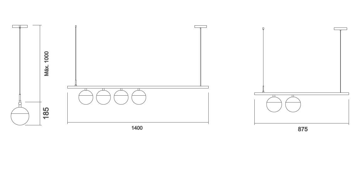 Pendente Usina 16570/4 Snooker C/ Globo de Vidro Ø140mm 4L E27 G45 140x185x1400mm