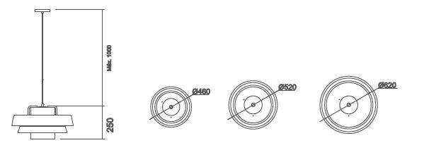 Pendente Usina 16590/45 Divã C/ Haste 185mm 1 E27 Ø460x250mm
