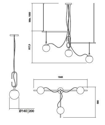Pendente Usina 16606/3 Quiron C/ Globo Ø200mm 3 E27 G45 1040x590x400mm