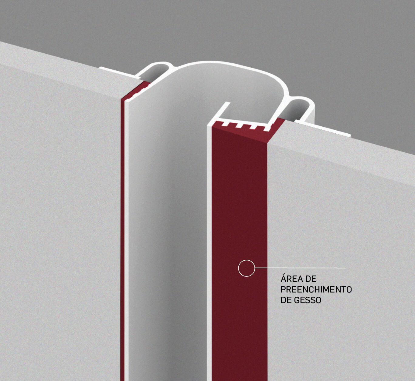Perfil Embutir Newline PELS200 LineUp para Fita LED 2000x85x35mm - Branco
