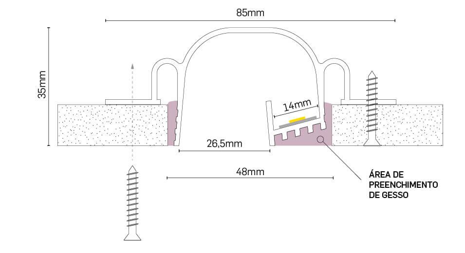 Perfil Embutir Newline PELS300 LineUp para Fita LED 3000x85x35mm - Branco