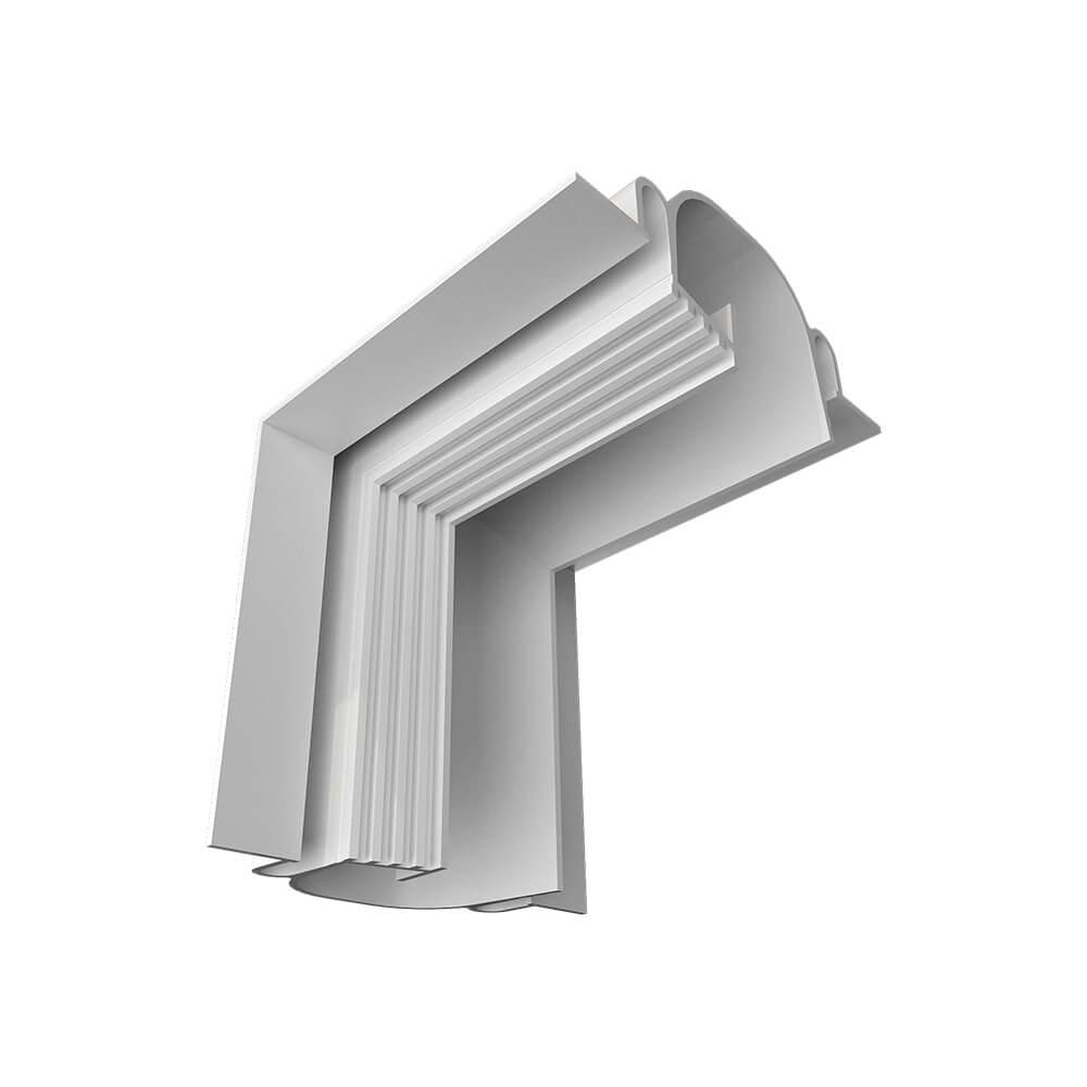 Perfil Embutir Newline PELS001 LineUp para Fita LED Junção Ângulo Fechado - Branco