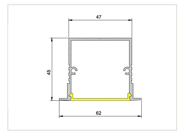 Perfil Embutir Linear para Fita LED Usina 30070/75 Nazca 75cm 62x750x45mm