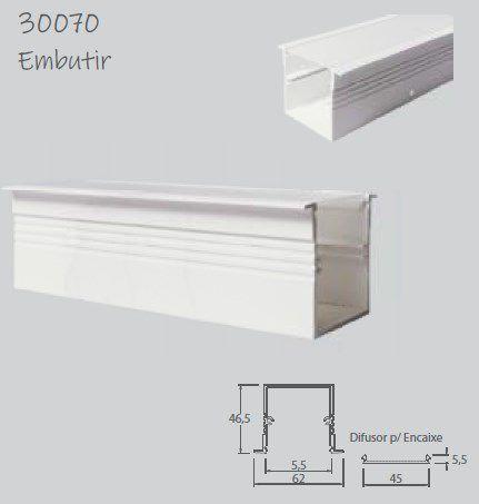 Perfil Embutir Linear para Fita LED Usina 30070/75 Nazca 75cm 62x750x46,5mm