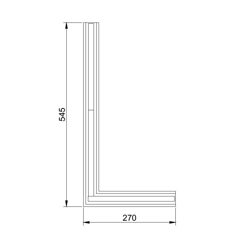 Perfil Embutir Linear Usina 19103/54LED3E Trail Junção Teto/Teto Esquerda com Led Integrado 18,3W 3000K Bivolt 270x545x27mm