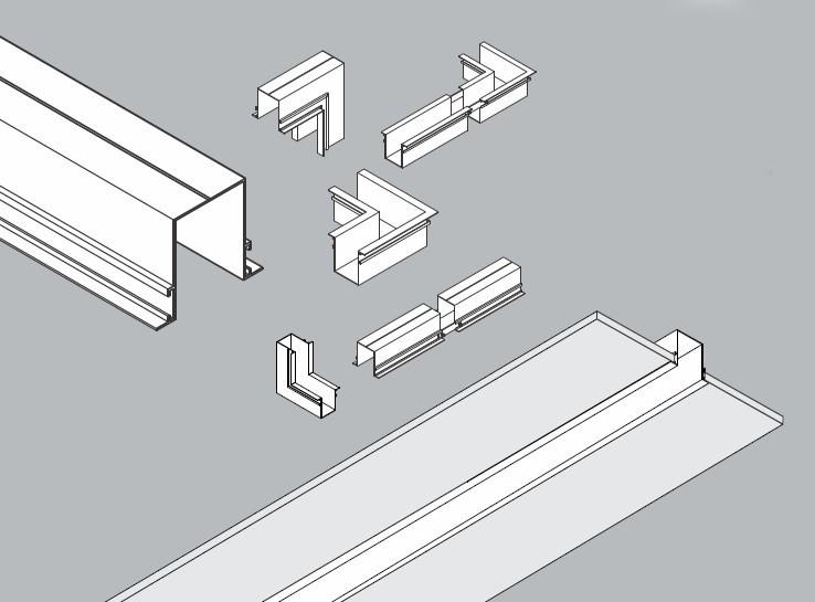 Perfil Embutir Linear Usina 30060/150 C Jotha 150cm 73x1500x60mm