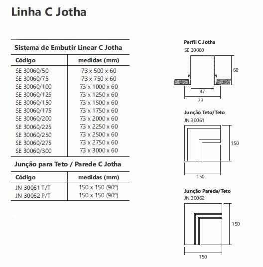 Perfil Embutir Linear Usina 30060/50 C Jotha 50cm 73x500x60mm