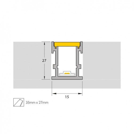 Perfil Embutir LED para Piso Misterled SLED9199 14,4W/m 12V IP65 15x27mm - Prata