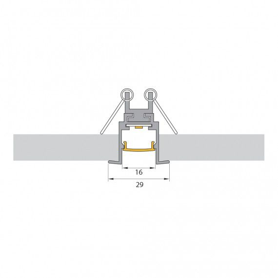 Perfil Embutir Linear LED MisterLED SLED9002N 18W/M 12V IP20 29mm