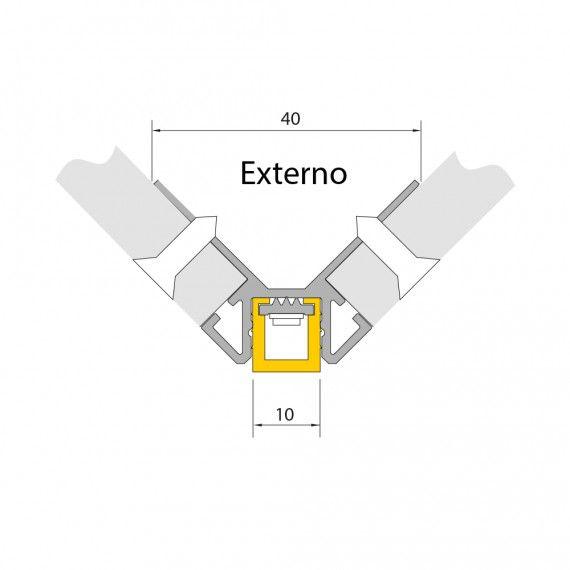 Perfil Embutir Cantos LED MisterLED SLED9075 Corner Externo 7,2W/M 12V IP20 40x10mm - Prata