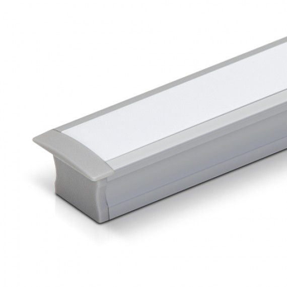 Perfil Embutir Linear LED MisterLED SLED9002 Gesso/Drywall 9,6W/M 12V IP20 25x15mm