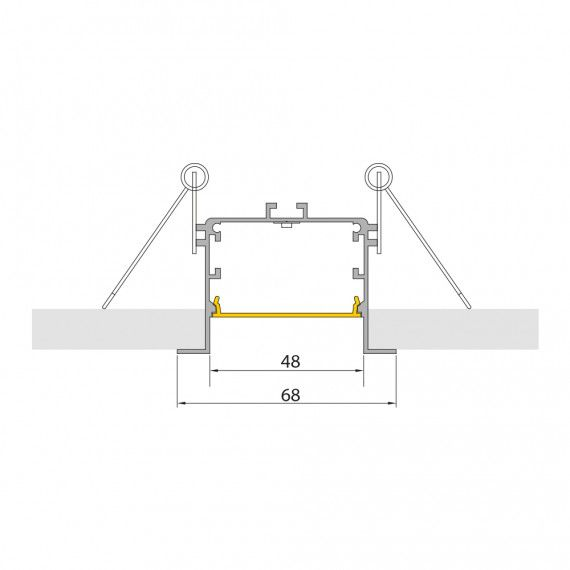 Perfil Embutir Linear LED SLED9076 E51 Recuado Anti-Glare 14,4W/M 12V IP20 68x48mm