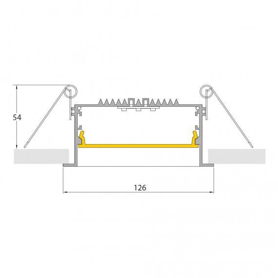 Perfil Embutir Linear LED MisterLED SLED9077 E100 Recuado Anti-Glare 43W/M 12V IP20 126x54mm