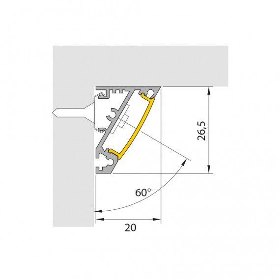 Perfil Sobrepor Linear LED MisterLED SLED9080 Corner30-60 14,4W/M 12V IP20