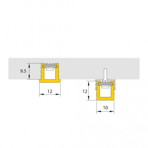 Perfil Sobrepor Linear LED MisterLED SLED9081 M10 Mobiliário 7,2W 12V 12x10mm