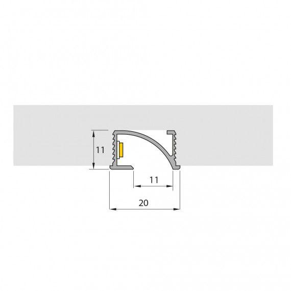 Perfil Embutir Linear LED MisterLED SLED9082 M20 Mobiliário 14,4W/M 12V IP20 11x20mm