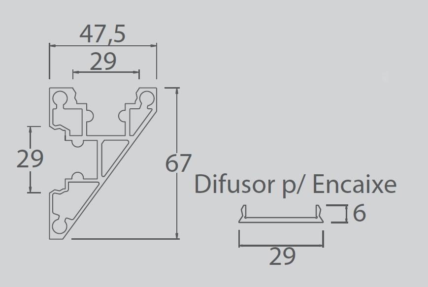 Perfil Sobrepor Linear para Fita LED Usina 30040/100 Sanca 100cm C/ Difusor 47,5x1000x67mm
