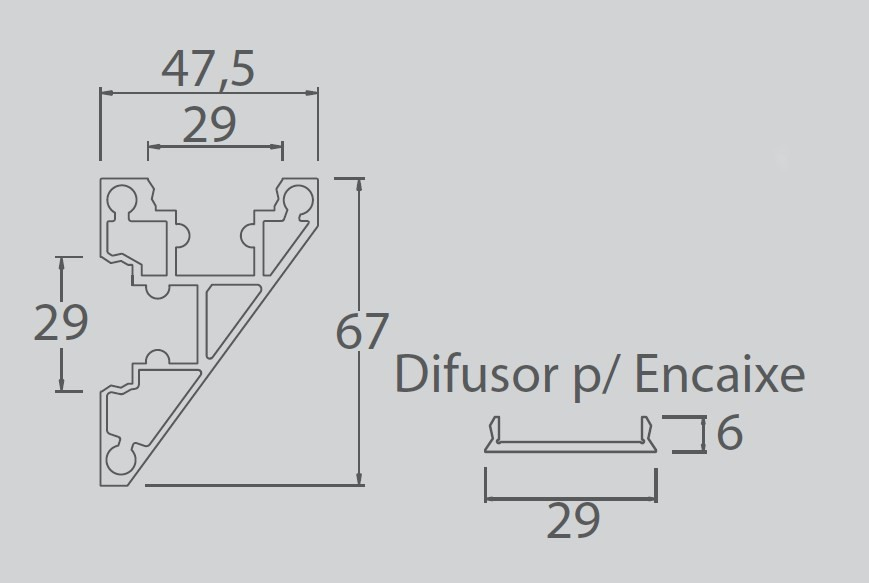 Perfil Sobrepor Linear para Fita LED Usina 30040/250 Sanca 250cm C/ Difusor 47,5x2500x67mm