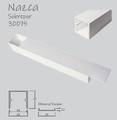 Perfil Sobrepor Linear para Fita LED Usina 30075/150 Nazca 150cm 49x1500x47mm