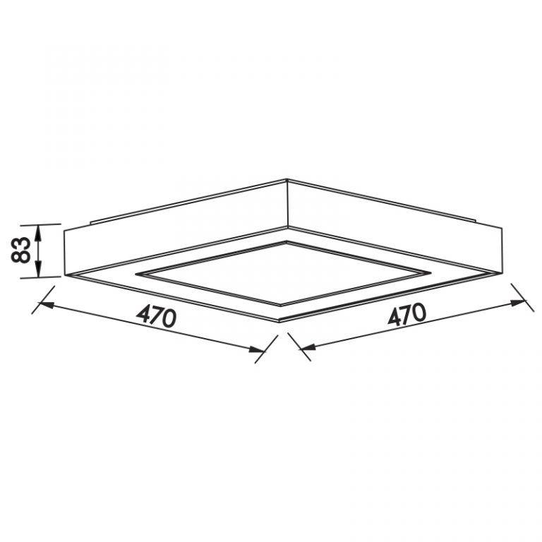 Plafon Sobrepor LED Newline 512LED4 New Chess 33,6W 4000K Bivolt 470x470x83mm