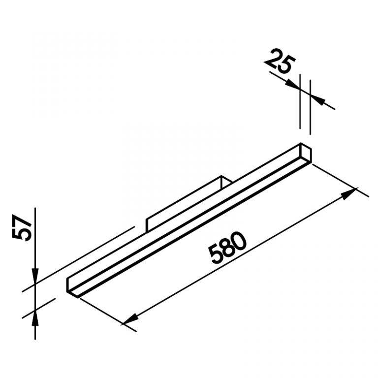 Plafon LED Newline 630LED3 Fit Sobrepor 16W 3000K Bivolt 580x25x57mm
