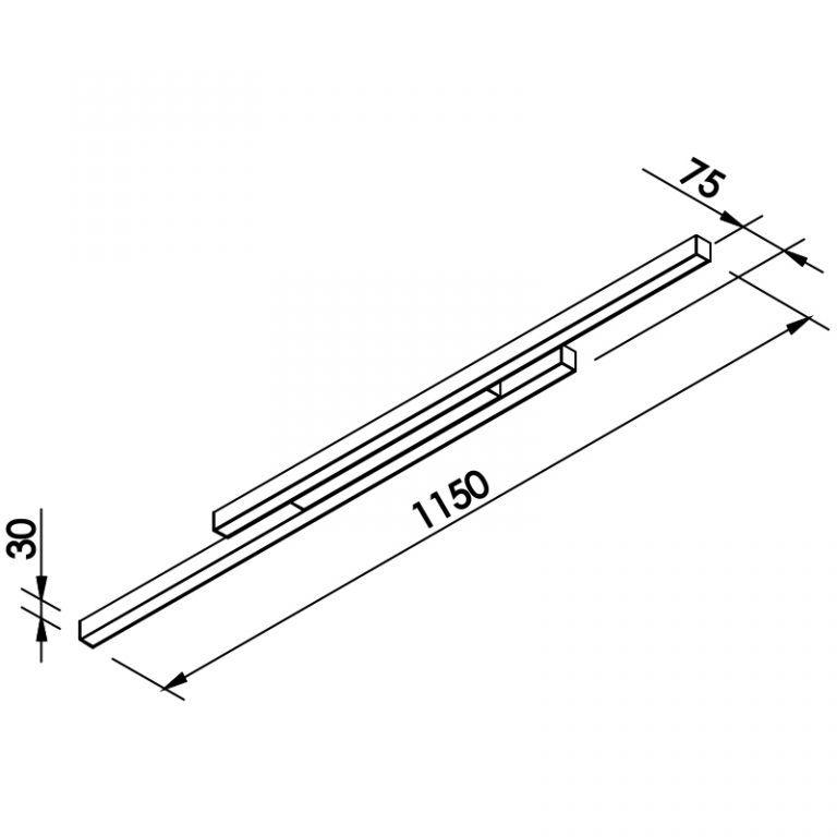 Plafon LED Newline 644LED3 Fit Sobrepor 48W 3000K Bivolt 1150x75x30mm