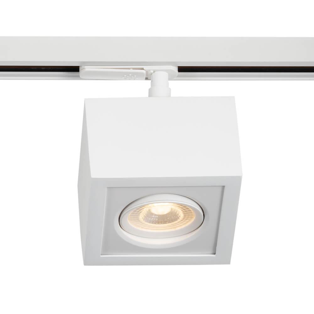 Plafon LED para Trilho Eletrificado Newline Box Facho Orientável 5W 3000K Bivolt 115x115x114mm - Branco