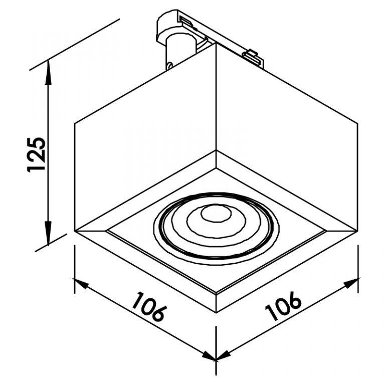 Plafon LED para Trilho Eletrificado Newline 561AP Box Facho Orientável 5W 3000K Bivolt 115x115x114mm - Preto