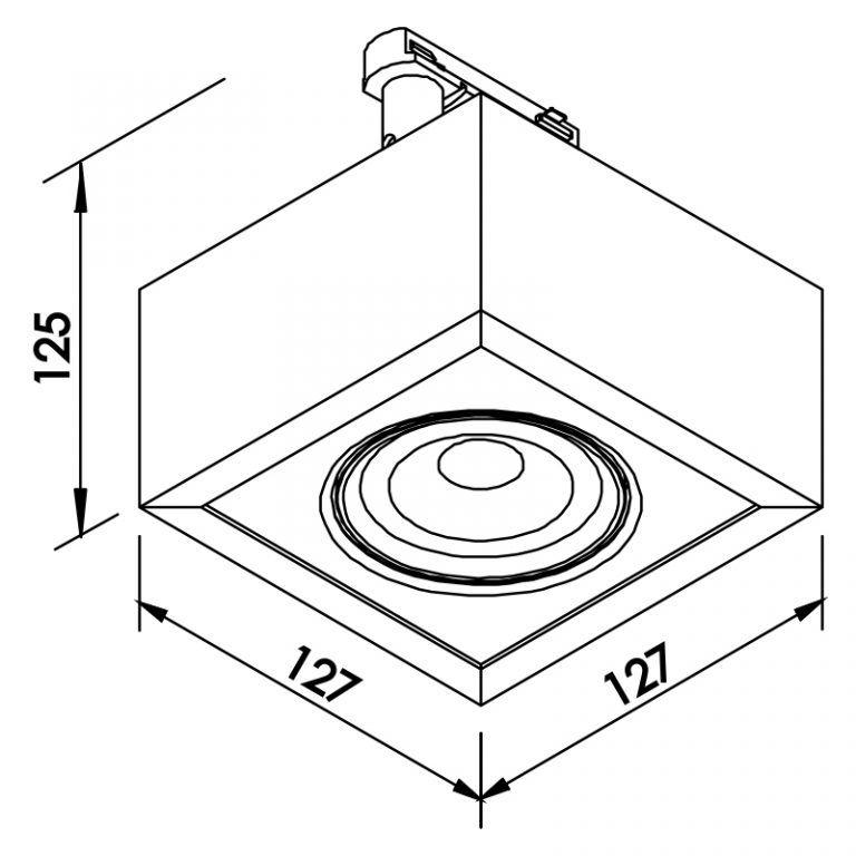 Plafon LED para Trilho Eletrificado Newline 562AP Box Facho Orientável 7W 3000K Bivolt 125x125x114mm - Preto