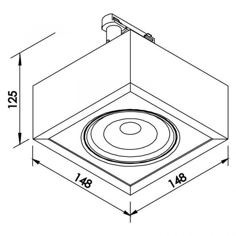 Plafon LED para Trilho Eletrificado Newline 563AB Box Facho Orientável 12W 3000K Bivolt 150x150x114mm - Branco